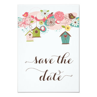 Colorful Love Birds & Bird Houses Save the Date Card