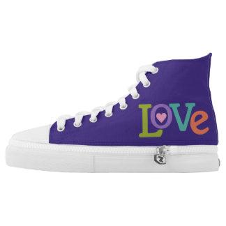 Colorful Love custom monogram high-top shoes