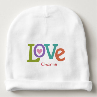 Colorful Love custom name baby beanie