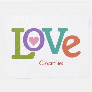 Colorful Love custom name baby blanket