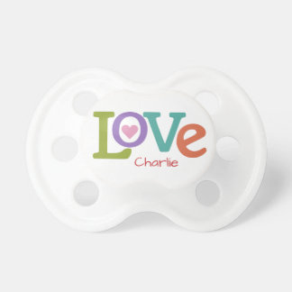 Colorful Love custom name pacifiers