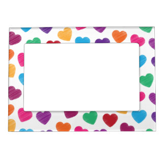 Colorful Love Heart Pattern Valentine's Day Magnetic Frame
