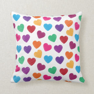 Colorful Love Heart Pattern Valentine's Day Throw Pillow