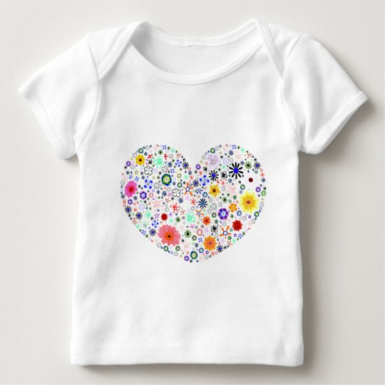 Colorful  love heart with floral pattern baby T-Shirt