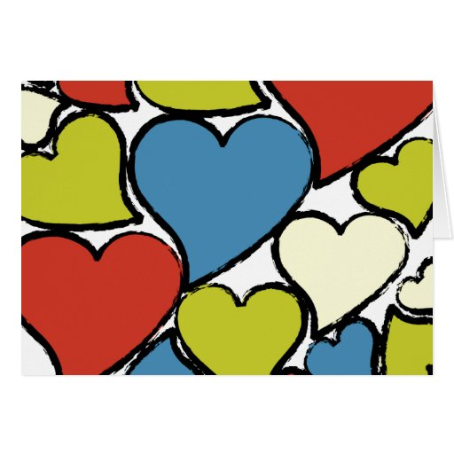 Colorful Love Hearts Greeting Cards
