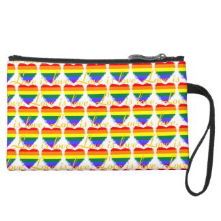 Colorful love is love rainbow hearts pattern suede wristlet wallet