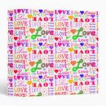 Colorful Love, Love, Love, Love, Love, Love Vinyl Binder