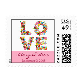 Colorful LOVE Spring Flowers Wedding Shower Stamps