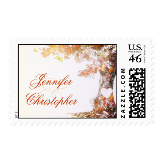 colorful love tree postage stamps