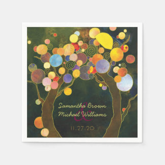 Colorful Love Trees Custom Wedding Paper Napkin