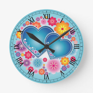 colorful love with hearts and flowers round clock