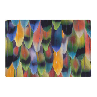 Colorful lovebird parrot feathers placemat