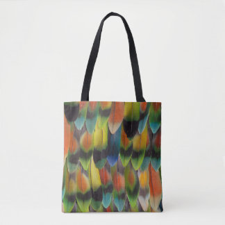 Colorful Lovebird Tail Feathers Tote Bag