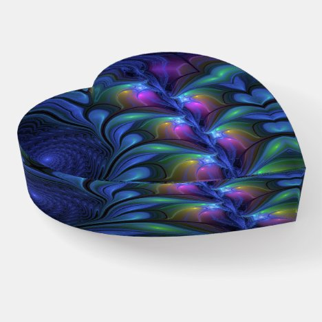 Colorful Luminous Abstract Blue Pink Fractal Heart Paperweight