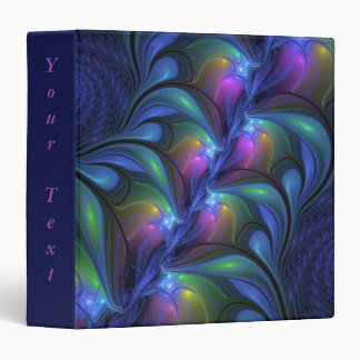 Colorful Luminous Abstract Blue Pink Green Fractal 3 Ring Binder