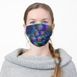 Colorful Luminous Abstract Blue Pink Green Fractal Cloth Face Mask