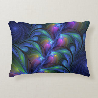 Colorful Luminous Abstract Blue Pink Green Fractal Decorative Pillow