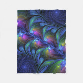 Colorful Luminous Abstract Blue Pink Green Fractal Fleece Blanket