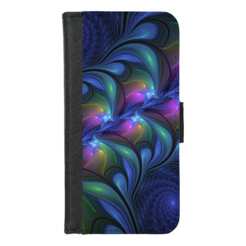 Colorful Luminous Abstract Blue Pink Green Fractal Phone Case