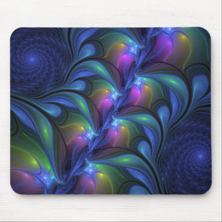 Colorful Luminous Abstract Blue Pink Green Fractal Mouse Pad