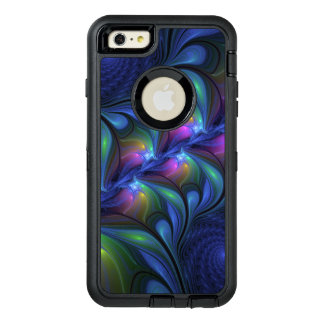 Colorful Luminous Abstract Blue Pink Green Fractal OtterBox Defender iPhone Case