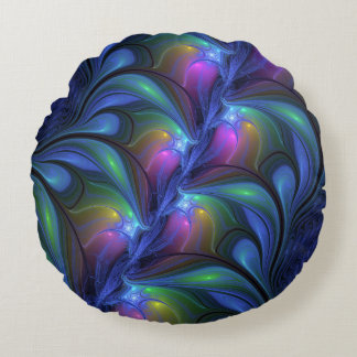 Colorful Luminous Abstract Blue Pink Green Fractal Round Pillow