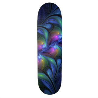 Colorful Luminous Abstract Blue Pink Green Fractal Skateboard