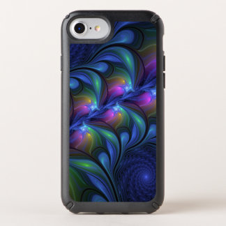 Colorful Luminous Abstract Blue Pink Green Fractal Speck iPhone Case