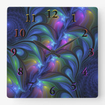 Colorful Luminous Abstract Blue Pink Green Fractal Square Wall Clock