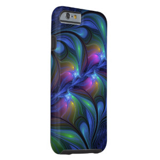Colorful Luminous Abstract Blue Pink Green Fractal Tough iPhone 6 Case