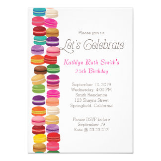 Colorful Macaron Birthday Invitation