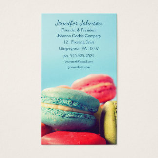 Colorful Macarons Cookies Business Card