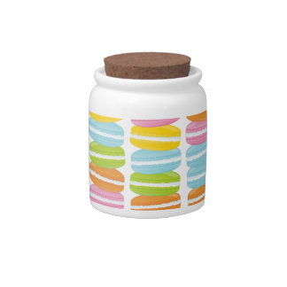 Colorful Macarons Stack Pattern Candy Jars