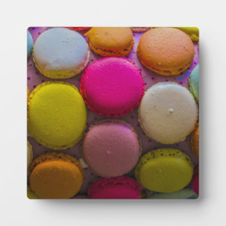 Colorful Macarons Tasty Baked Dessert Plaque