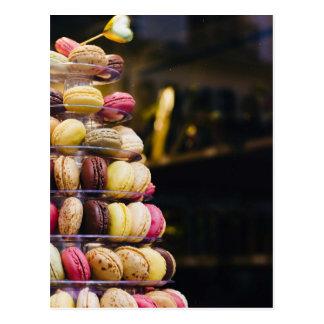 Colorful Macarons Tower Postcard