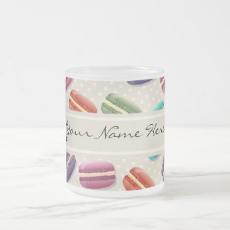 Colorful Macaroons Pattern on Gray with Polka Dots Frosted Glass Coffee Mug