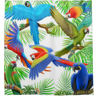 Colorful Macaw Jungle Parrots Shower Curtains Shower Curtain