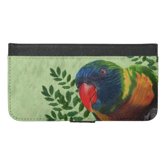 Colorful Macaw Parrot in Green Leaves Red Beak iPhone 6/6s Plus Wallet Case
