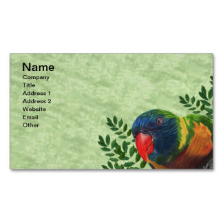 Colorful Macaw Parrot Leaves Business Card Magnet