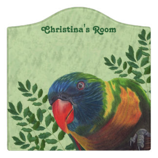Colorful Macaw Parrot Red Beak in Green Plants Door Sign