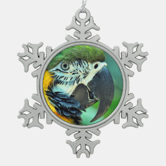 Colorful macaw parrot snowflake pewter christmas ornament