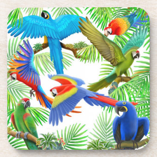 Colorful Macaw Parrots Cork Coaster