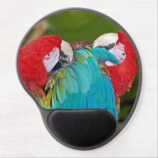 Colorful macaw parrots gel mousepad