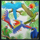 "Colorful Macaw Parrots Napkin<br><div class=""desc"">Original fine art design of colorful tropical macaw parrots by artist Carolyn McFann of Two Purring Cats Studio printed on a quality,  machine-washable napkin for parrot lovers. 
