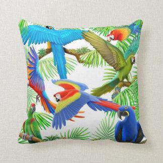 Colorful Macaw Parrots Pillow