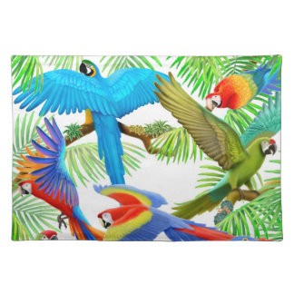 Colorful Macaw Parrots Placemat