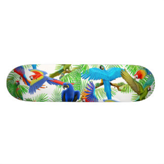 Colorful Macaw Parrots Skateboard