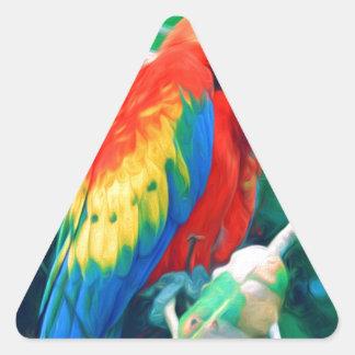 Colorful Macaw Triangle Sticker