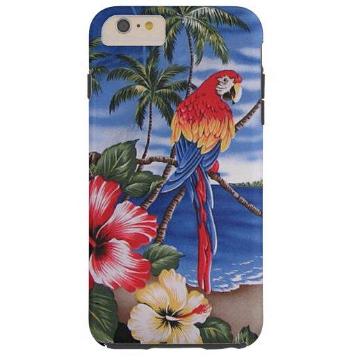Colorful Macaws Hawaiian Beach Scene Tough iPhone 6 Plus Case