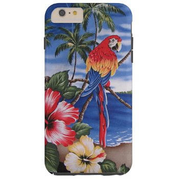 Colorful Macaws Hawaiian Beach Summer Scene Tough iPhone 6 Plus Case